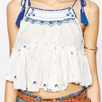Free People Sheer Magic Power Frill Top With Tassel Detail