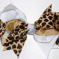 White Cheetah 4 Inch Bow Clip