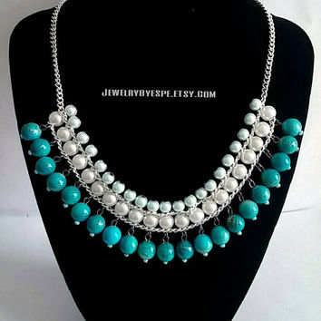 Turquoise Anthropologie Necklace-Turquoise Statement Necklace-Pearl Bib Necklace-Blue Chunky Necklace