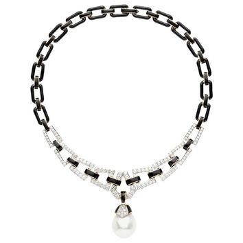 David Webb Black Enamel Baroque Pearl Diamond Gold Link Necklace