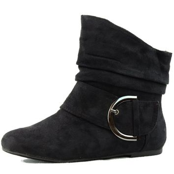 Women's Ankle Booties Buckle Mid Calf Buckle Slouch Flat Heel Strap Fashion Shoes,Pad-51 Black Suede 7