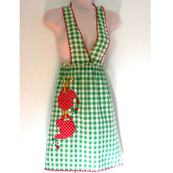 1940's Full Apron Green and White Gingham with Red Polka Dot Teapots and Embroidered Flowers