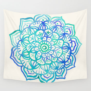 Watercolor Medallion in Ocean Colors Wall Tapestry by Micklyn