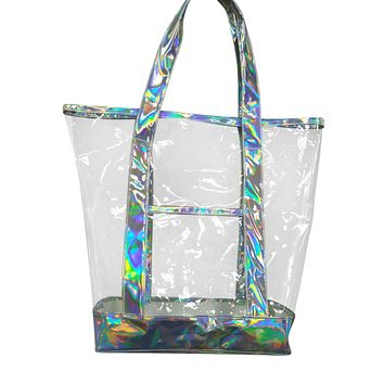 The new summer iridescent leather bag, hand bag, Silver Grey and iridescent Leather with clear transparent handbag, beach tote bag, sand shoulder shopping bags
