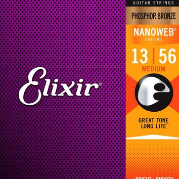 Elixir 16102 Phosphor Bronze Nanoweb Coated Acoustic Guitar Strings Medium