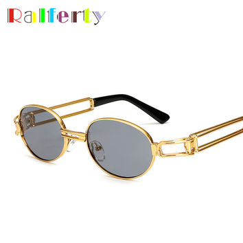 Ralferty 2017 Hip Hop Retro Small Round Sunglasses Women Men Vintage Steampunk Sunglasses Gold Glasses Frame Eyewear Oculo UV400