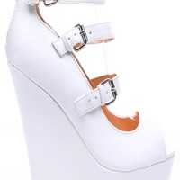 WHITE FAUX LEATHER 3 BUCKLE STRAP PEEP TOE PLATFORM WEDGE