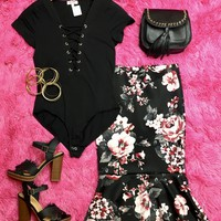 Floral Support Print Skirt: Black