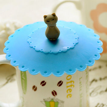 Cute Silicone Tea & Coffee Cup Cover, Mug Cover, Lid Cover, Cat Tea Lover Gift (Cat, Paw Print, Cherry Cake)