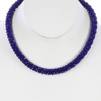 Navy Blue Iridescent Micro Bead Crocheted Rope Necklace