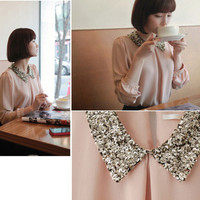 Sequined Collar Women's Blouse