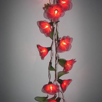 20 RED FLOWERS STRING PARTY,PATIO,FLORAL,DECOR,INDOOR,CHRISTMAS,WEDDING LIGHTS