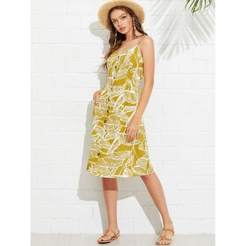 Yellow Tropical Print Button Through Cami Dress