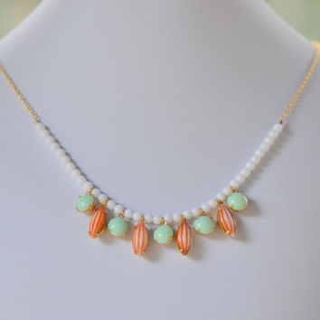 Bib Style Statement Necklace in Vintage Orange and Mint Green Stones and White Beads in Gold. Jewelry Fashion Statment Necklace.