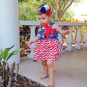 4th of July Baby Dress -Red, White and Blue Baby Dress -4th of July Baby Outfit with Headband and Necklace, 3 sizes: Newborn, Baby & Toddler