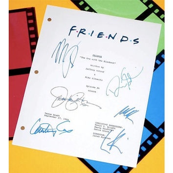 """Friends """"The One With The Blackout"""" TV Episode Autographed: Jennifer Aniston, Courtney Cox, David Schwimmer, Matthew Perry, Lisa Kudrow"""