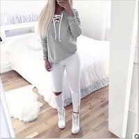 Autumn Winter Women Bandage Hoodies Lady's Long Sleeve Casual Sweatshirt Hoody Woman Fashion Pullovers Sweatshirts NQ939400