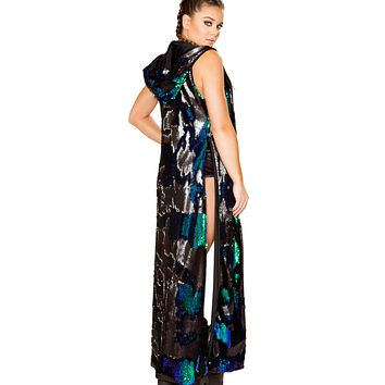 Reversible Sequin Hooded Rave Duster