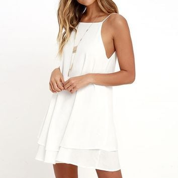 Women Sexy Backless Chiffon Sleeveless Summer Dress