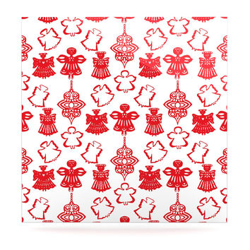 "Miranda Mol ""Angels Singing White"" Red Holiday Luxe Square Panel"