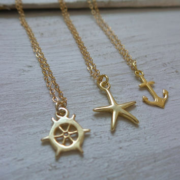 Anchor/Ship Wheel/Starfish Necklace by SBC, Vermeil Anchor, Vermeil Starfish, Ship Wheel, Delicate Gold Filled Chain, Choose Your Charm
