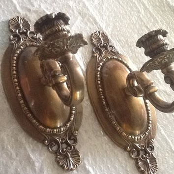 Vintage Cast Brass Victorian Pair Candle Sconces