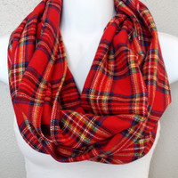 Chunky Tartan Plaid Soft Flannel Fall Infinity Scarf Womens Plaid Fashion Accessories Girls Plaid Circle Scarves Trending Tartan Scarves