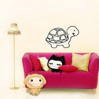 WALL VINYL STICKER  DECAL  MURAL BABY KID ROOM NURSERY CARTOON FUNNY TURTLE A672