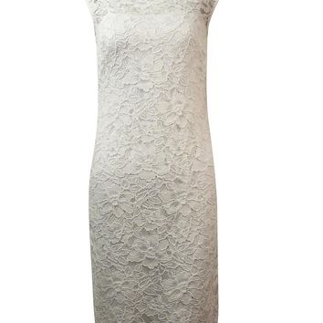 Calvin Klein Women's Illusion V-Back Lace Sheath Dress