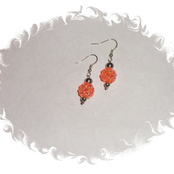 Orange Pave Rhinestone Crystal Silver Beaded Dangle Earrings