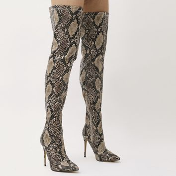 Saturn Over The Knee Pointed Toe Boots in Natural Snake Print
