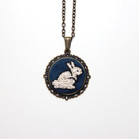 Hand Embroidered Rabbit Necklace / Hand Embroidered Statement Pendant Necklace / Bunny Necklace / White Rabbit / Gift
