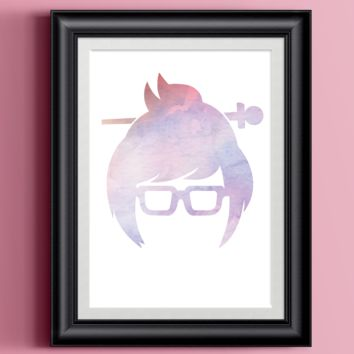 Overwatch Poster Mei Portrait Home Print | Watercolor Wall Decor Gamer