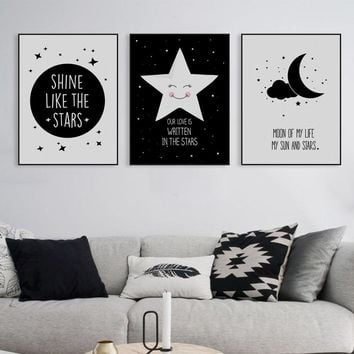 Abstract Starry Motivation Moon Star Quotes A4 Art Poster Print Wall Picture Canvas Paintin Nordic Kids Room Deco No Frame Gifts