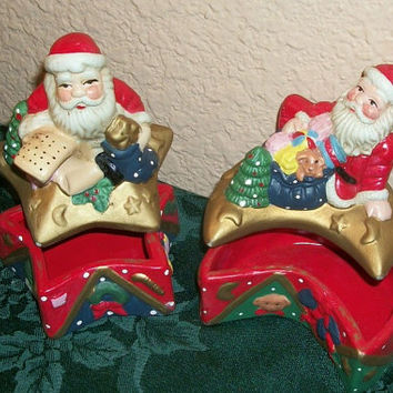 Two Santa Claus Celestial Star and Moon Trinket Boxes Vintage Ceramic Christmas Home Decor