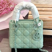 DIOR New fashion print leather high quality shoulder bag handbag women Mint Green