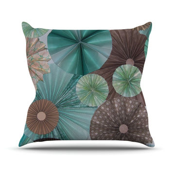 "Heidi Jennings ""Atlantis"" Teal Brown Outdoor Throw Pillow"