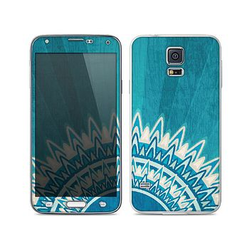 The Blue Spiked Orb Pattern V3 Skin For the Samsung Galaxy S5.png