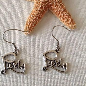 Party earrings, tibetan silver party charms, party girls, celebration earrings, quirky gifts