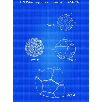 Soccer Ball 1985 Patent Poster - Patent Poster - Office Art - Soccer Player