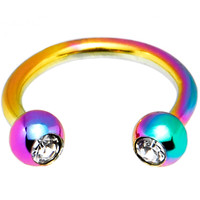 "16 Gauge 5/16"" Rainbow Titanium Horseshoe Circular Barbell 