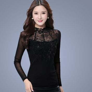 Blusa ladies Mesh shirt New lace stitching Women blouse Plus size Casual shirt Slim Long sleeve Floral Hollow out lace Tops