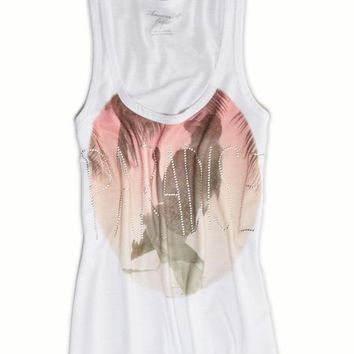AEO Women's Studded Graphic Tank (White)