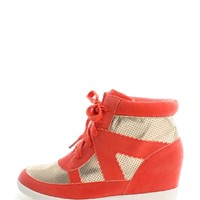 Coral Street Chic Wedge Sneakers | $11.99 | Cheap Trendy Sneakers Chic Discount Fashion for Women |