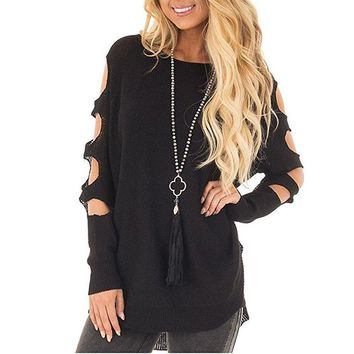 Women's Black Casual Cut Out Loose Fitted Pullover Sweater