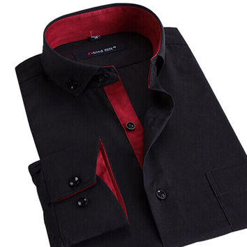 Men Dress Shirts Business Formal Slim Fit Shirts
