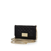 River Island Womens Black quilted phone case purse
