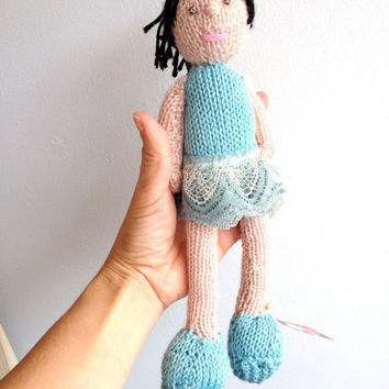 Knitted Ballerina Doll - Blue Dance Outfit