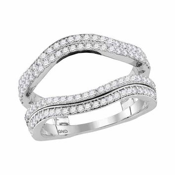 14kt White Gold Womens Round Diamond Wrap Ring Guard Enhancer Wedding Band 3/4 Cttw
