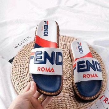 FENDI Slippers Casual Fashion Sandal Shoes Summer Vacation Ocean Holiday White